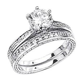 CZ Engagement Rings Wedding Band Set 14k White Gold Bridal