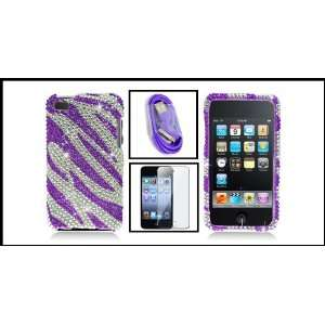 Purple Zebra Full Diamond Cover Case for iPod Touch 4 4th Generation