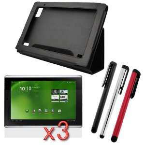 Leather Carrying Cover Case Folio with Built in Stand + 3 packs of LCD
