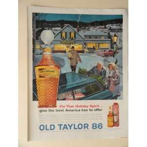 Old Taylor 86 Whiskey. 1963 full page print ad(beautiful