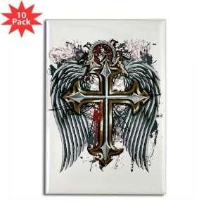 Rectangle Magnet (10 Pack) Cross Angel Wings