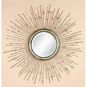Antique Silver Leaf Round Mirror
