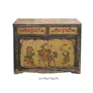 TV Stand Cabinet Mongolian Antique Hand Painted Buffet Table Awk2134
