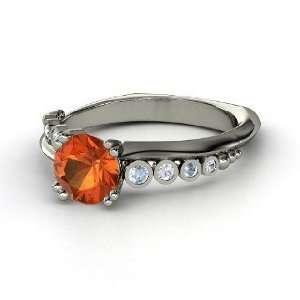 Isabella Ring, Round Fire Opal 14K White Gold Ring with Aquamarine