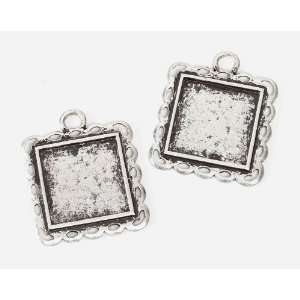Antique Silver Frame Charm   Square   Set of 2 Arts