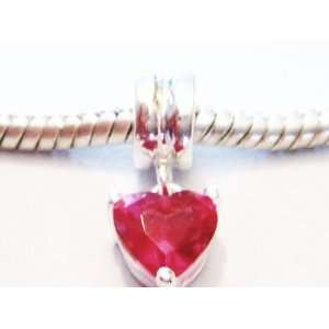 Authentic 925 sterling silver pink heart dangle charm fits pandora