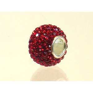Authentic 925 Sterling Silver Ruby Red 130 Swarovski Crystal Bead