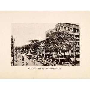 1924 Print Calcutta Street Scene India Streetcar Awning