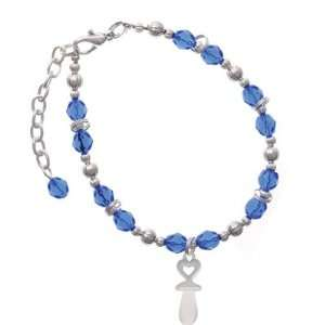Frosted Baby Pacifier Blue Czech Glass Beaded Charm Bracelet [Jewelry