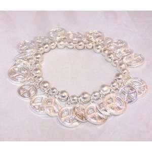 Silver Tone Peace Charm Bracelet
