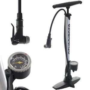 Pressure Bicycle Bike Alloy Floor Air Pump Gauge