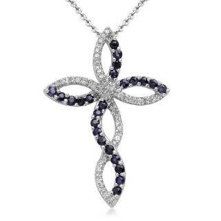 Blue Sapphire and Diamond Cross Necklace Pendant 14k White