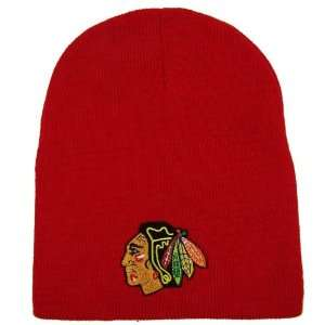 CHICAGO BLACKHAWKS EMBROIDERED TEAM LOGO BEANIE CAP HAT
