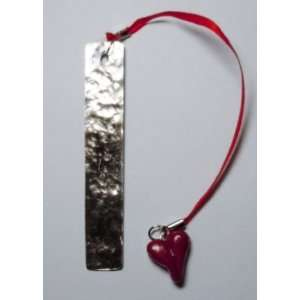 Solid Metal Bookmark with Red Valentine Heart: Office Products