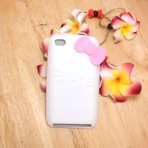 Kitty white Silicone with bow Cover Case for iPod Touch iTouch 4 4g