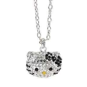 Kitty rhinestone pendant necklace   black bow Arts, Crafts & Sewing