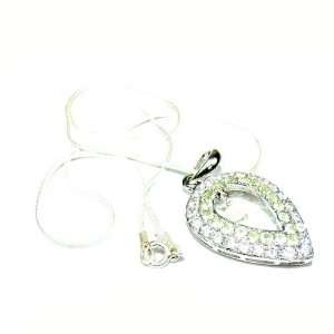 Necklace Peridot & Simulated CZ Heart Pendant Set Sterling Silver