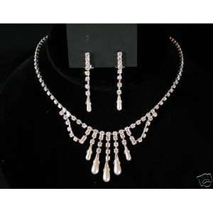 com Bridal Wedding Prom Bridesmaid Necklace Clip Earring Jewelry Set