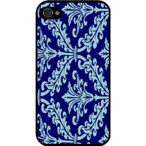 Blue Color Damask Design Rubber Black iphone Case (with bumper) Cover