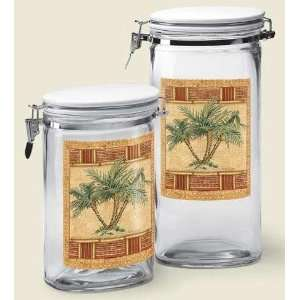 PALM TREE tropical GLASS CANISTER SET Jar 2 Two  Home