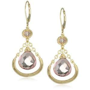 Everyday Classic Pink Quartz Wrapped Chain Drop Earrings Jewelry