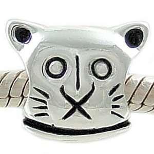 Petite Sterling Silver Kitty Cat Head Bead for European Charm Bracelet