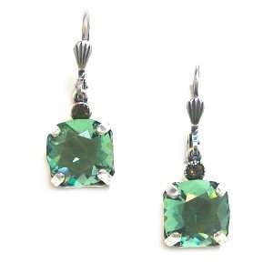Silver Plated Square Marine Swarovski Crystal Drop Earrings Jewelry