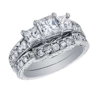 Stone Princess Cut Diamond Engagement Ring & Wedding Band Set 1 Carat