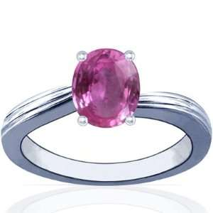 Platinum Oval Cut Pink Sapphire Solitaire Ring Jewelry