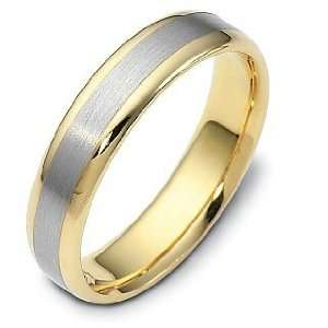 Style 5mm 14 Karat Gold Two Tone Comfort Fit Wedding Band Ring   8.5