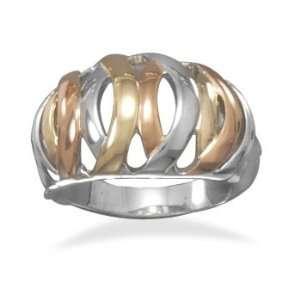 14 Karat Gold Plated Tri Tone Domed Basket Weave Design Fashion Ring