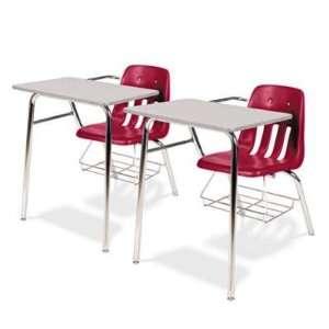 9400 Classic Series Chair Desks, Red, Gray Nebula Laminate