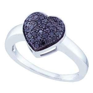10K White Gold 1/4 ct. Black Diamond Heart Ring Katarina Jewelry
