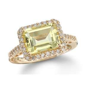 4.13Ct Emerald Cut Lemon Quartz & Diamond 14K Gold Ring Jewelry