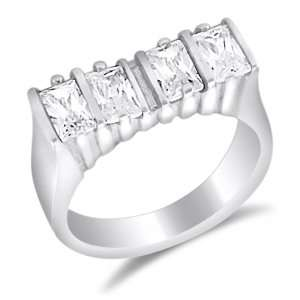 Emerald Cut Fashion Ring Cocktail Band CZ Sterling Silver (1.00 Carat