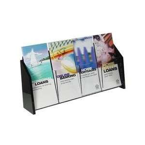 D01932W    Wall Mount Brochure Holder, Clear w/Black Ends, 1 tier