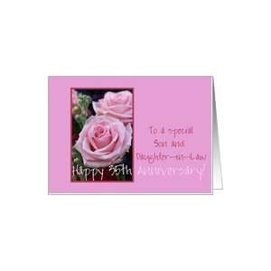 35th Anniversary pink roses for son & daughter in law Card