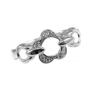 Modern Abstract Flower Design Fashion Ring with Created Gems Jewelry