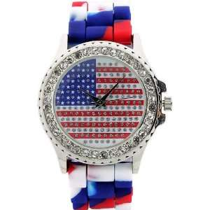Round Face Silicone Watch. American Flag Graphic