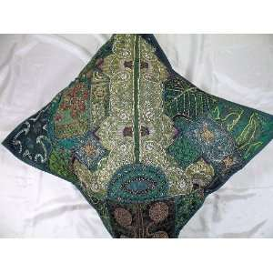 Green Indian Bead Decorative Big Floor Cushion Pillow