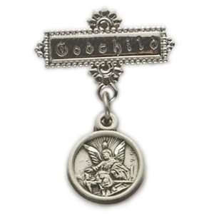 Sterling Silver Baby Guardian Angel Bar Pin with engraved