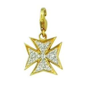 14K Gold 1/10ct HI Diamond Maltese Cross Spring Ring Charm