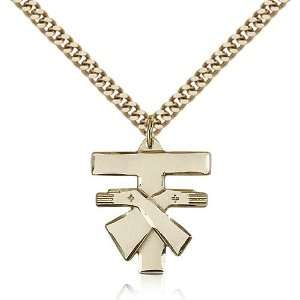 IceCarats Designer Jewelry Gift Gold Filled Franciscan Cross Pendant