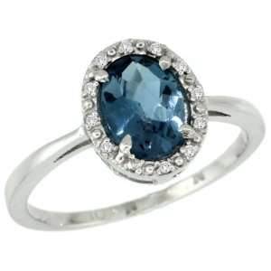 10k White Gold ( 8x6 mm ) Halo Engagement London Blue Topaz Ring w/ 0