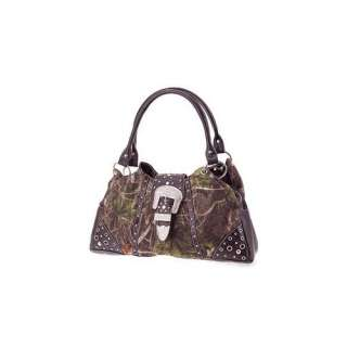 Camouflage Western Rhinestone Buckle Purse Brown Trim Camo