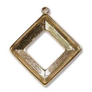 Gold Tone Pendant Setting For Swarovski 20mm Square Ring (1) Home