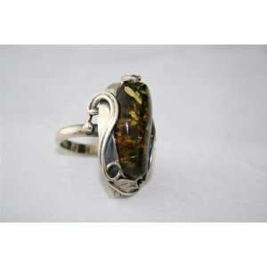 Extra Large Sterling Silver & Natural Baltic Amber Ring 17