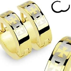 316L Stainless Steel Gold Plated Hinged Snap Huggie Earrings with 3
