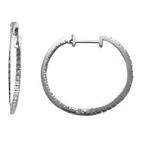 Endless CZ Hoop 14K White Gold Huggie Earrings Jewelry