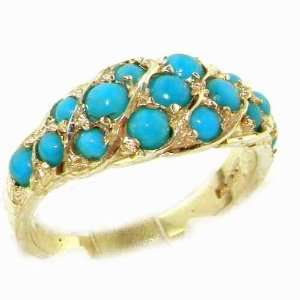 Luxury Ladies Solid Yellow Gold Vibrant Turquoise Band Ring   Size 11